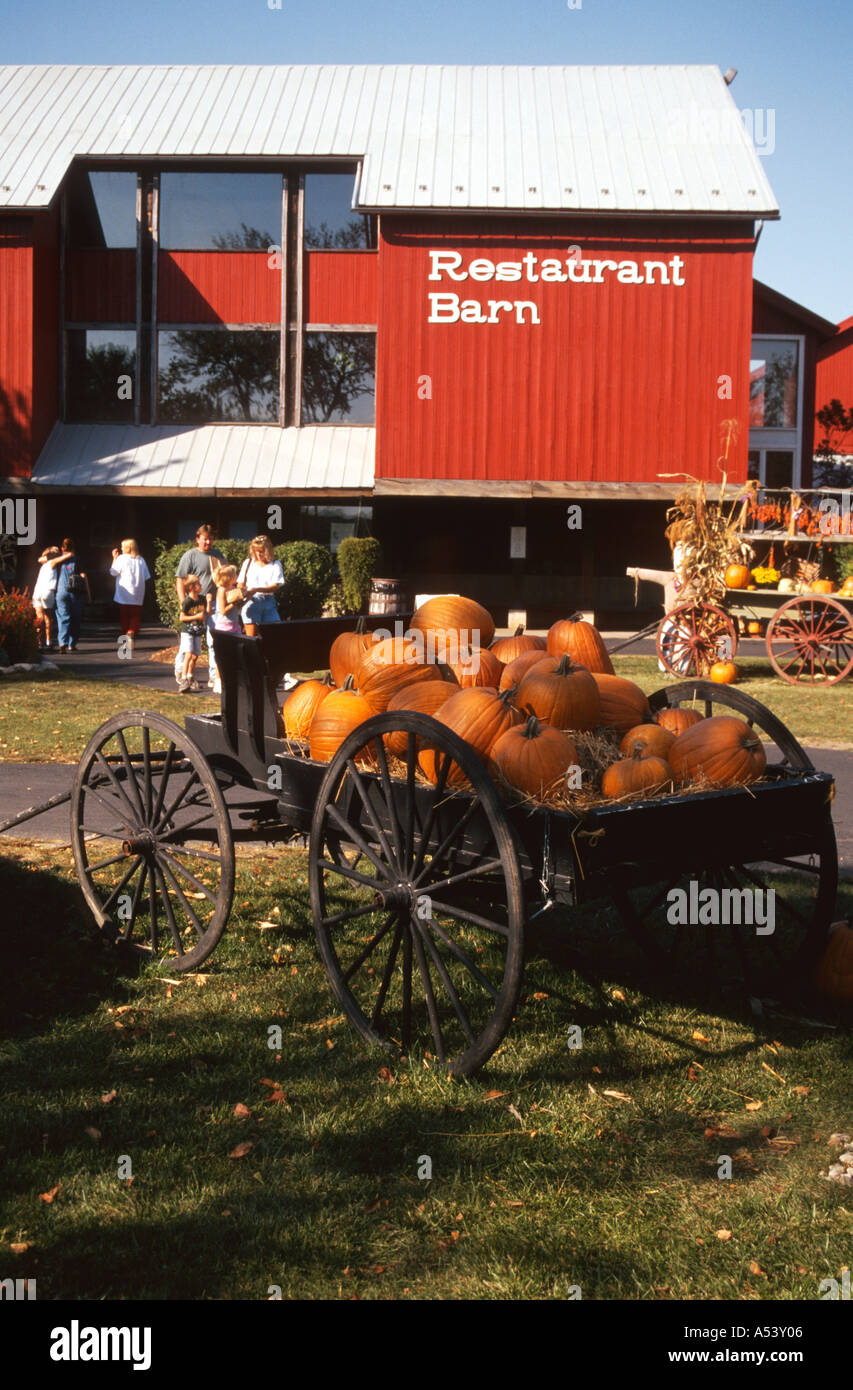 INDIANA Nappanee Amish Acres red barn restaurant wagon with pumpkins