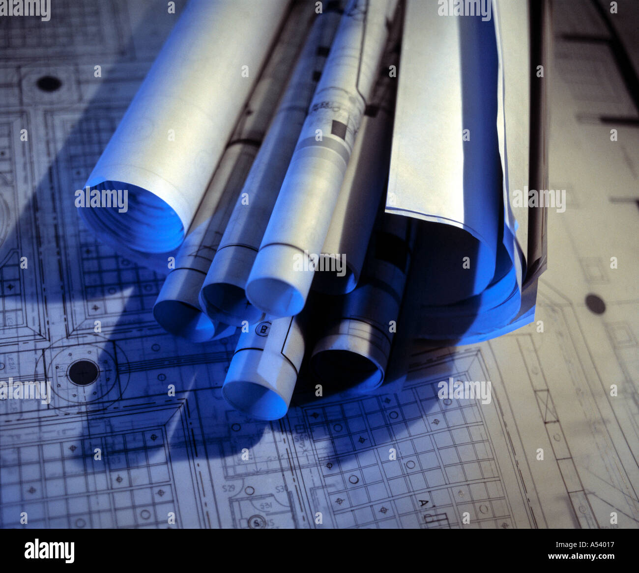 plans with blue light - Stock Image