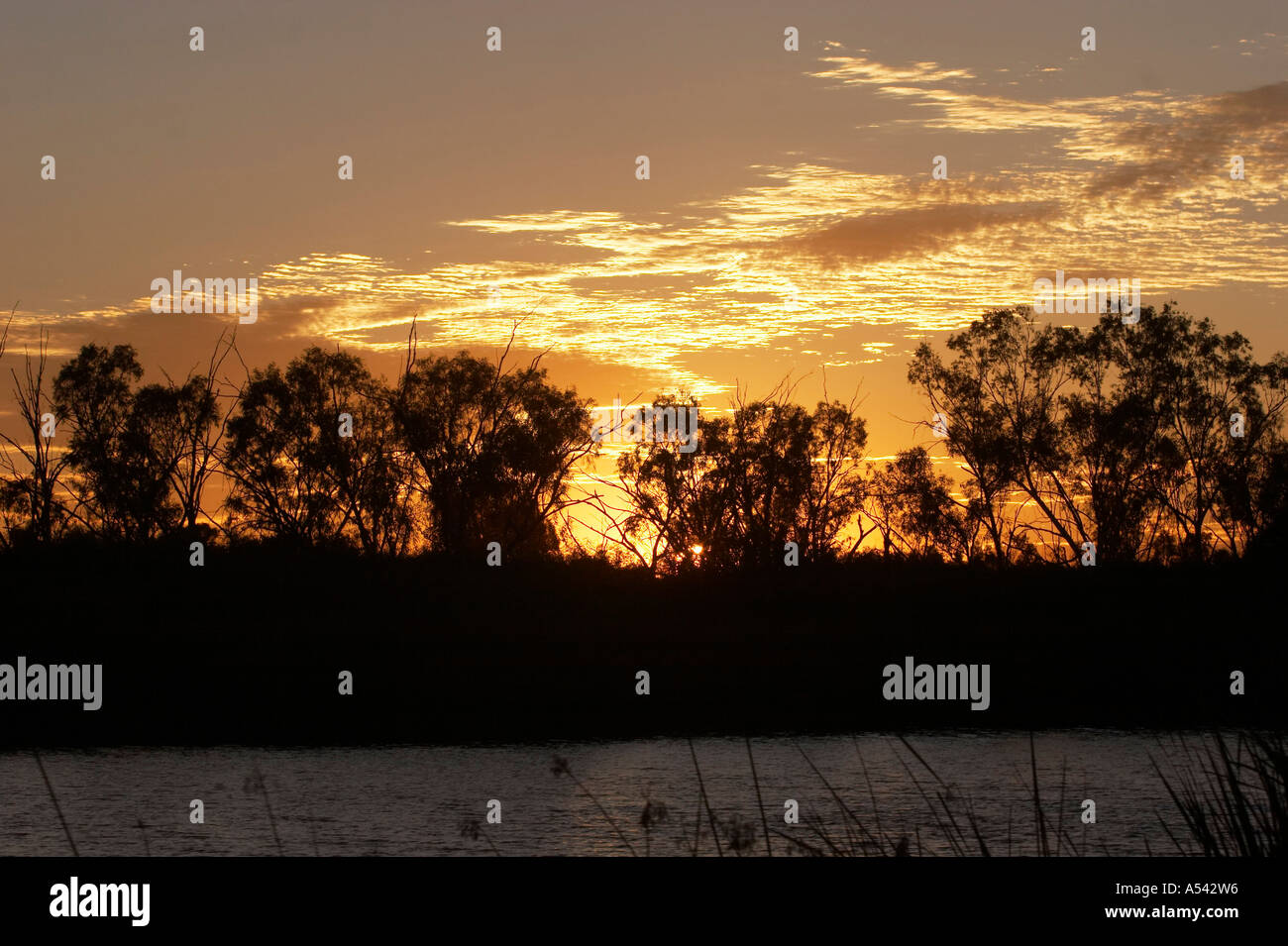Sunset at Deep Reach Pool Millstream Chichester National Park Pilbara region western australia WA - Stock Image