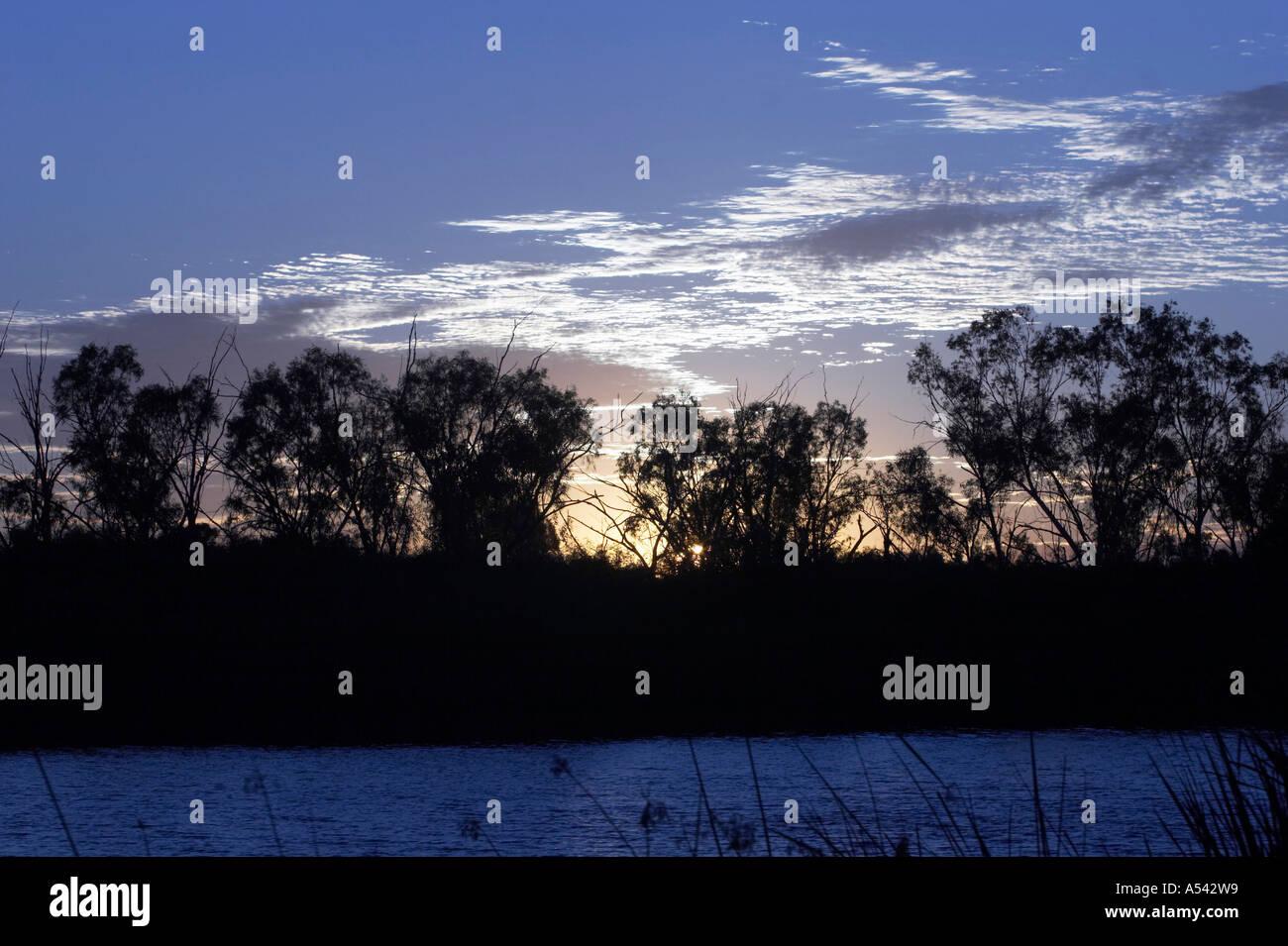 Sunrise at Deep Reach Pool, Millstream Chichester National Park, Pilbara region, Western Australia - Stock Image