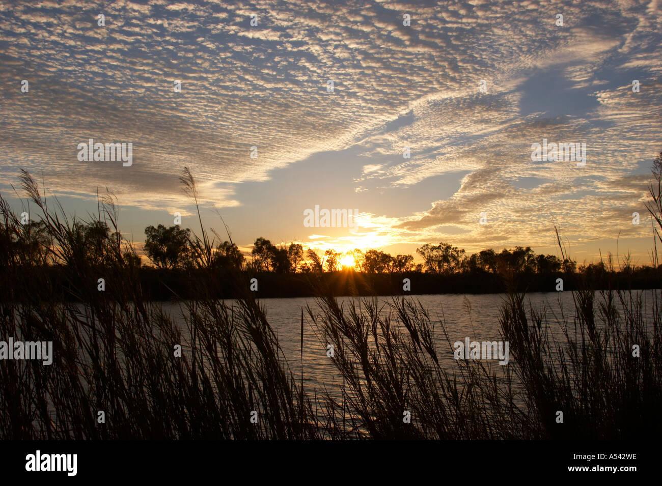 Sunrise at Deep Reach Pool Millstream Chichester National Park Pilbara region western australia WA - Stock Image