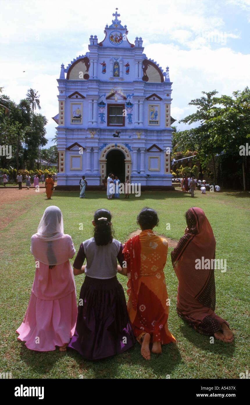 Painet ha2561 5401women india religion christian good friday marys church valiapally kerala country developing nation - Stock Image