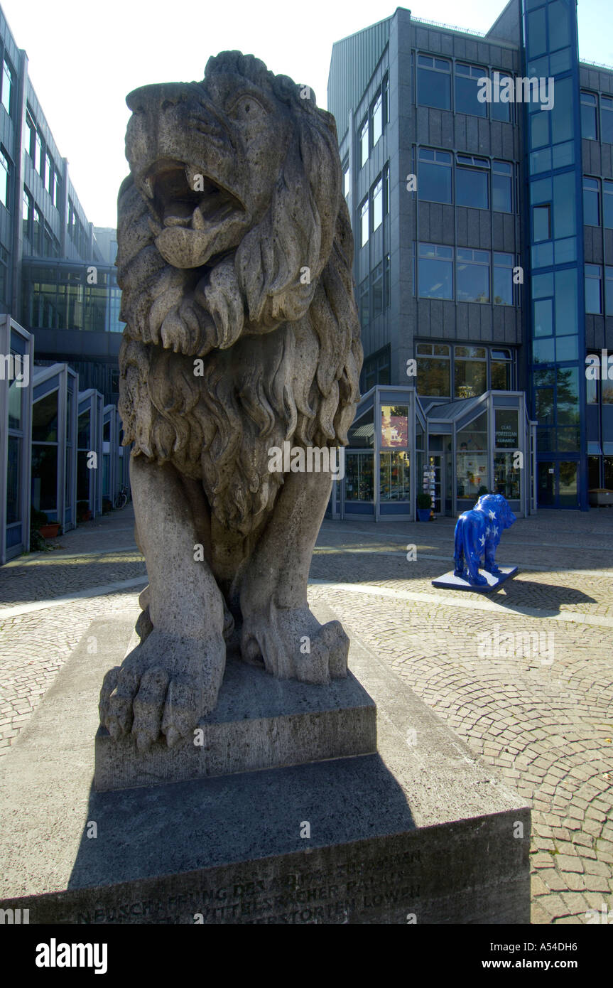 Statue of a lion in front of the Bavaria LB Landesbank Munich Bavaria Germany - Stock Image