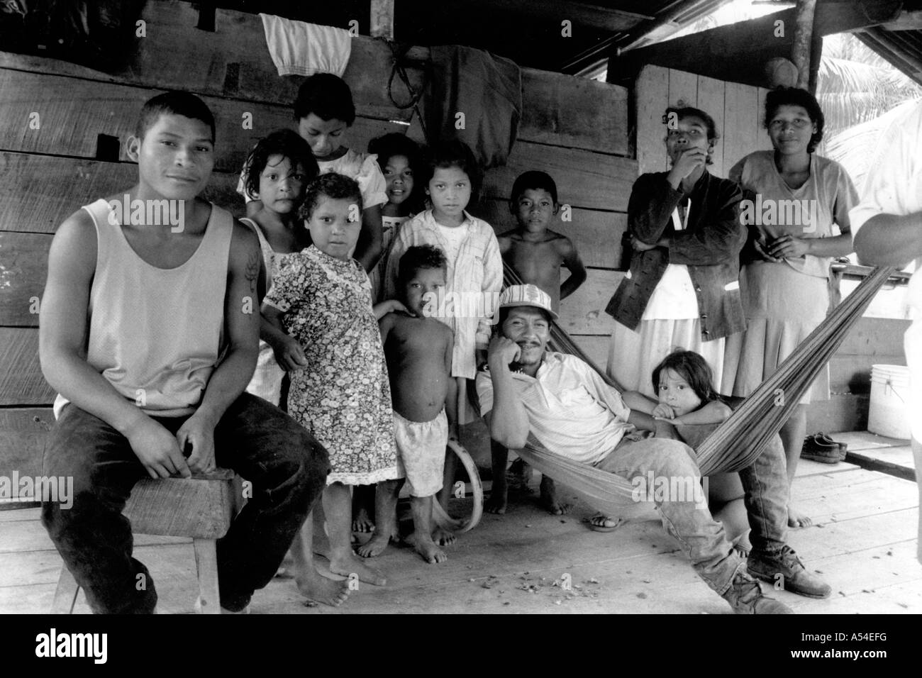 Painet hn1998 635 black and white hurricane mitch maximo hamstrung hammock family rest ordeal when flooding wiped - Stock Image