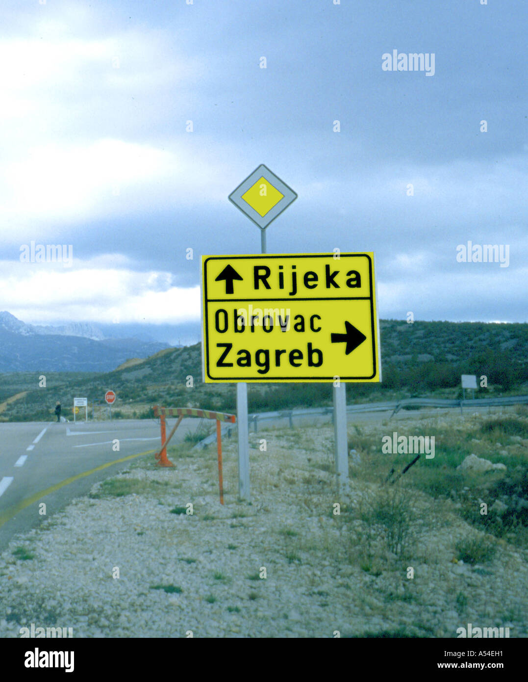 traffic sign with directions - Stock Image