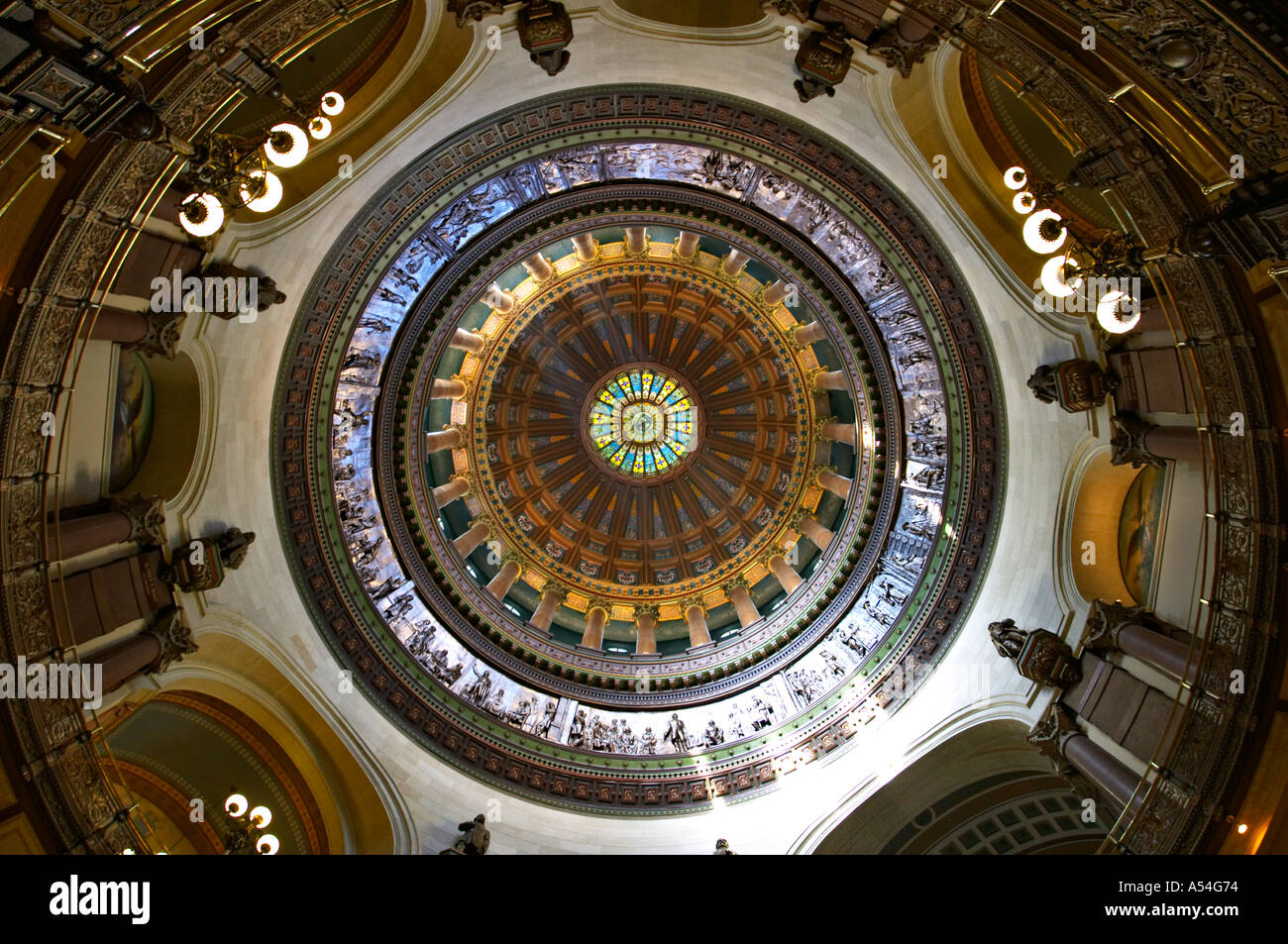 ILLINOIS Springfield Interior of State Capitol building dome stained glass ornate decorative details  - Stock Image