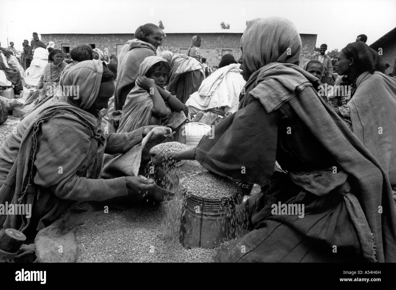 Painet hq1496 black and white food distribution by catholic relief services mekelle tigray ethiopia images bw country - Stock Image