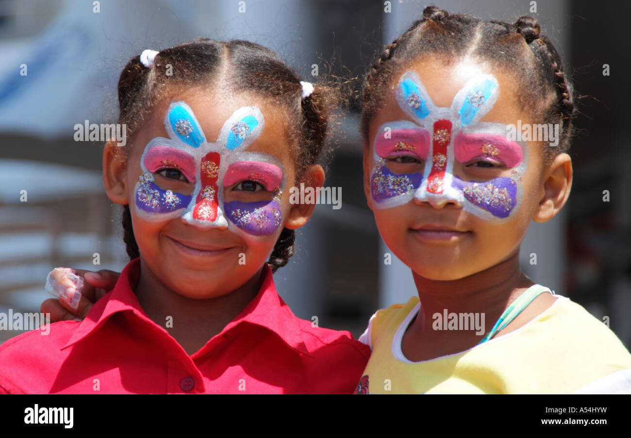 Face painting. Southern African children with painted faces. - Stock Image