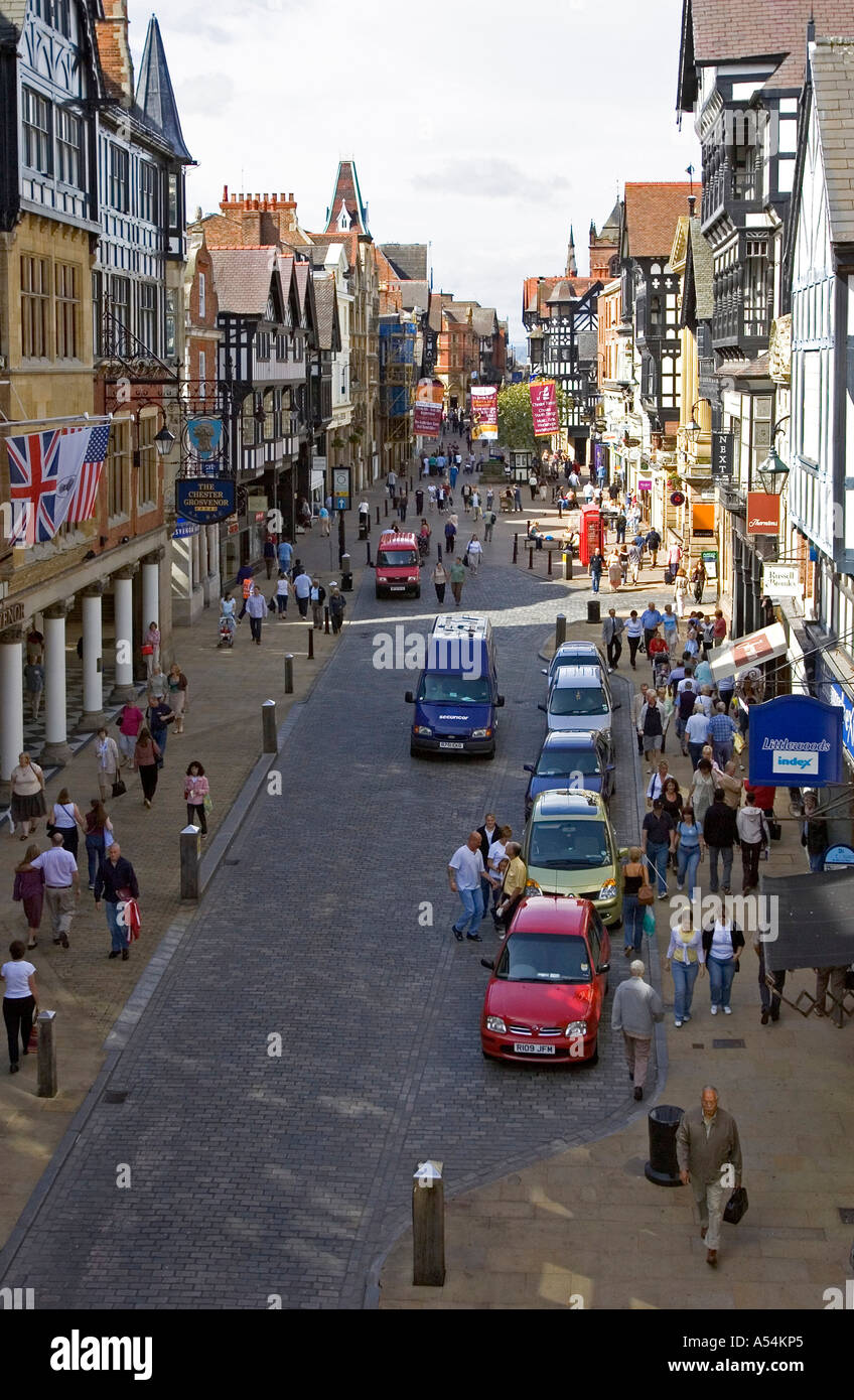 Chester, GBR, 23. Aug. 2005 - View to Eastgate St. in Chester. - Stock Image