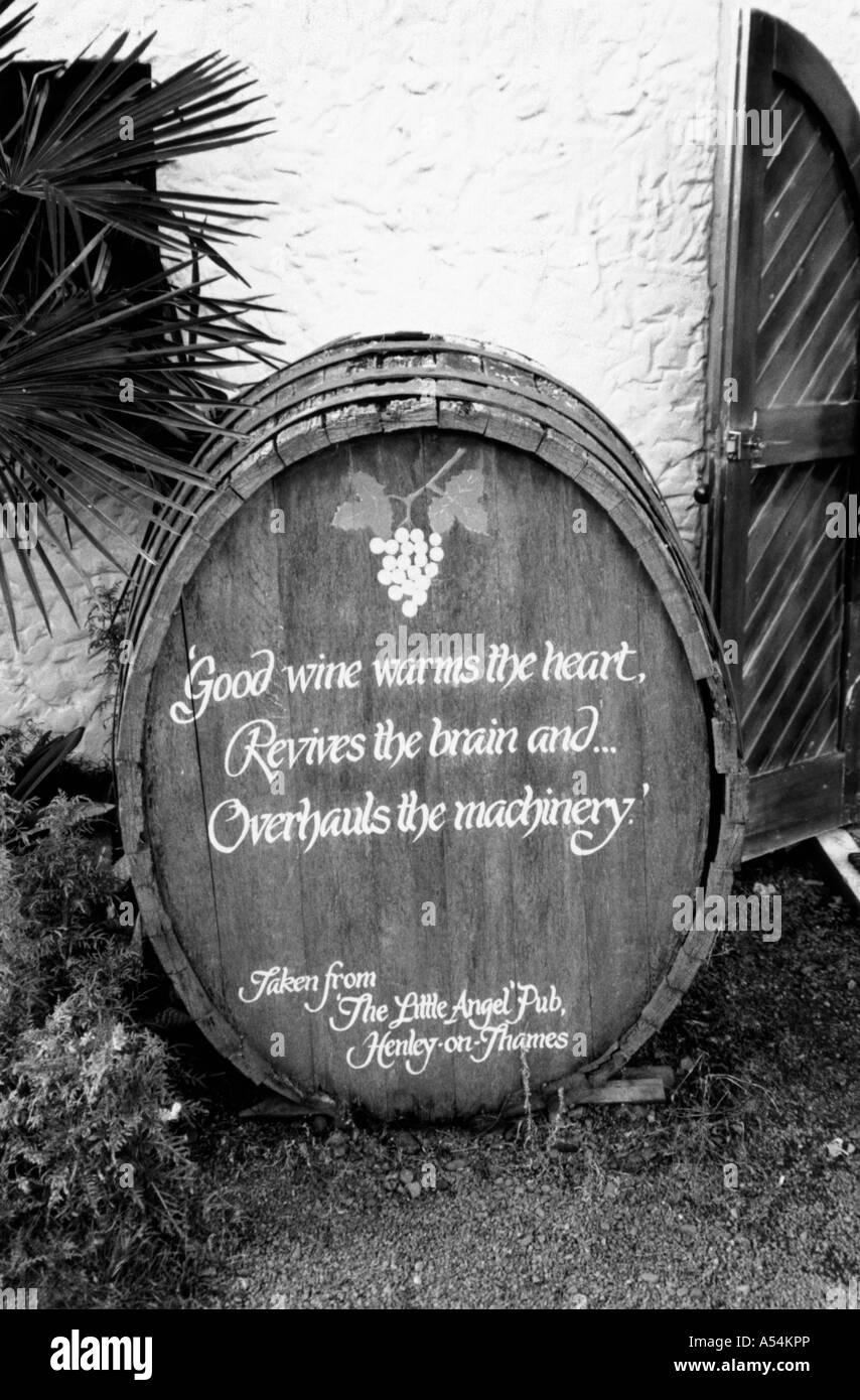 Wine barrel, vineyard near Napier, North Island, New Zealand. - Stock Image