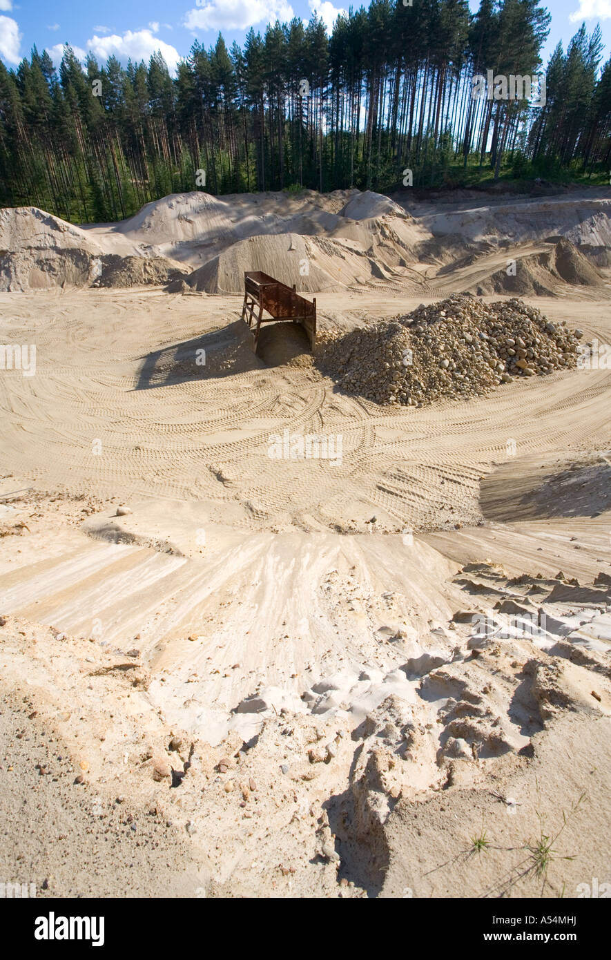Wall of a gravel pit on a sandy ridge , Finland - Stock Image
