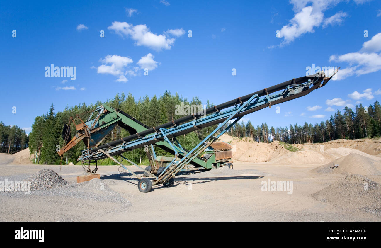 Movable conveyor belts for transporting gravel on a Finnish sandpit , Finland - Stock Image