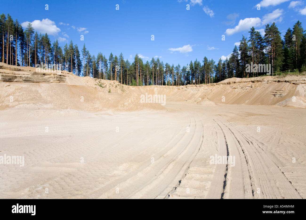 Fine sand in a sandpit on a sandy ridge / esker  , Finland - Stock Image