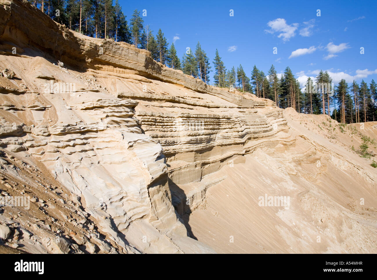 soil erosion on a sandy ridge , glacial esker , Finland - Stock Image