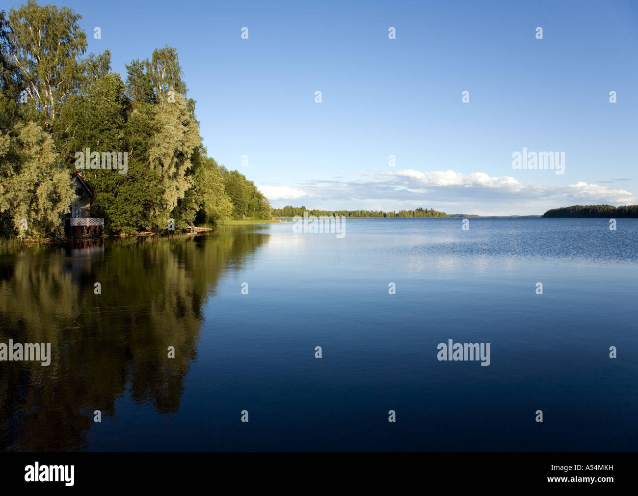 Calm lake Suontee surface in a warm Summer day , Finland - Stock Image