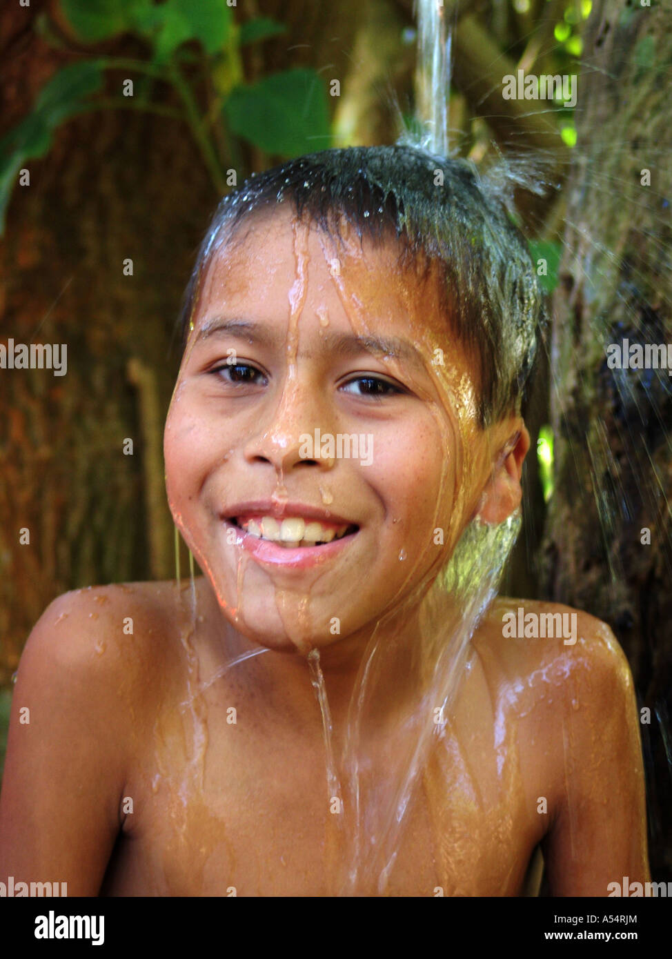 Painet ip1889 honduras boy taking bath agua caliente copan country developing nation less economically developed - Stock Image