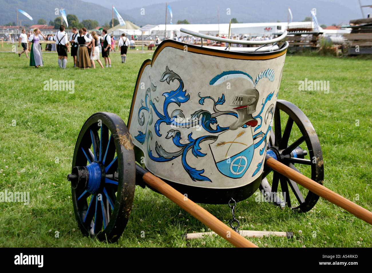 Roman chariot, imitation, First oxrace of Bichl, August 8th 2004, Upper Bavaria, Germany - Stock Image