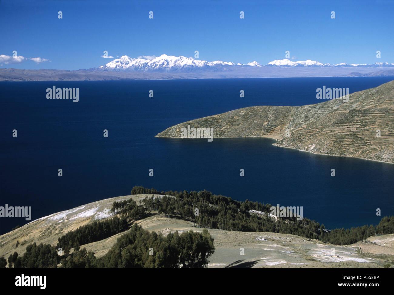 View towards Cordillera Real from Sun Island, Lake Titicaca, Bolivia - Stock Image