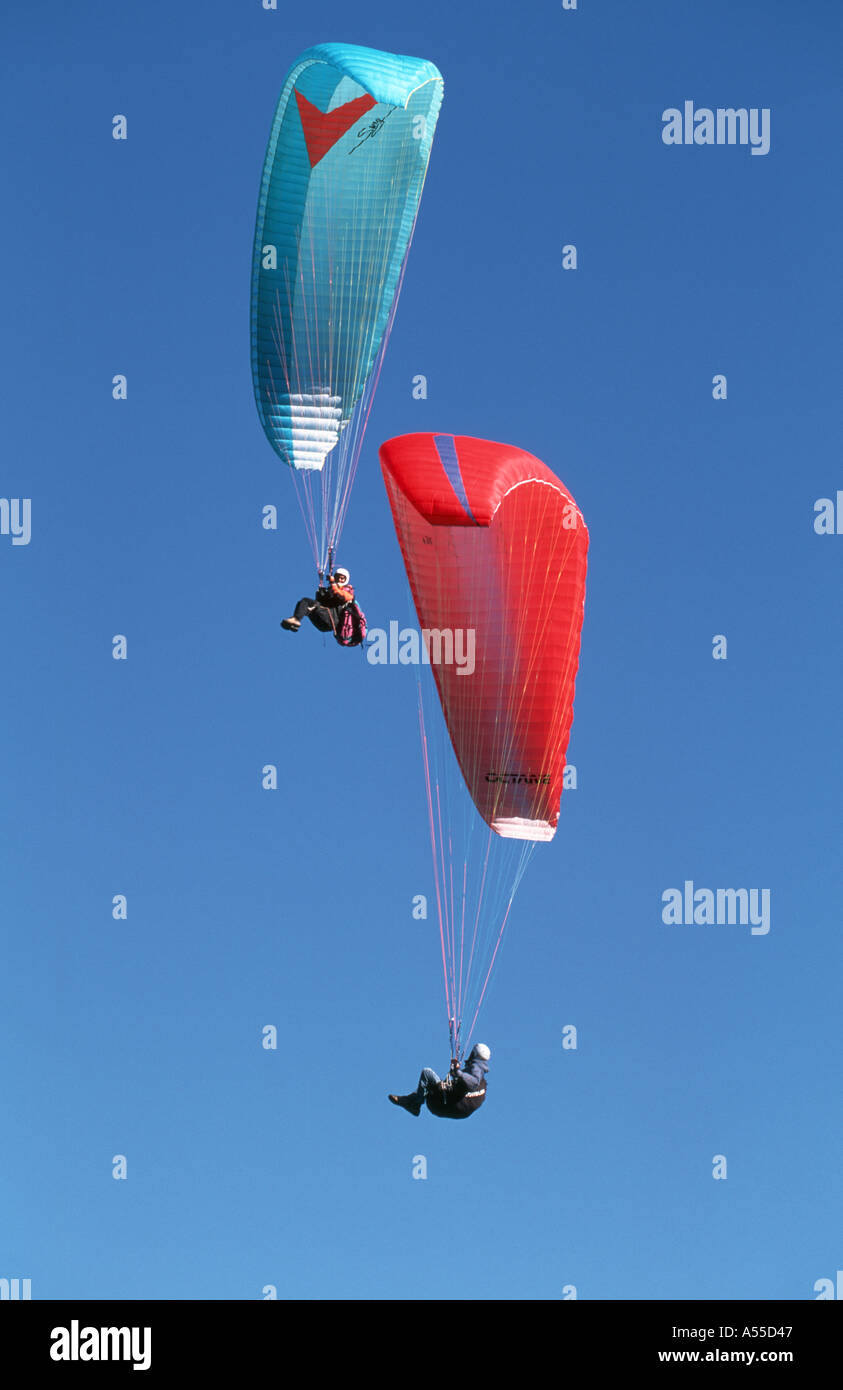 Paragliders soaring together in the crisp light of autumn - Stock Image