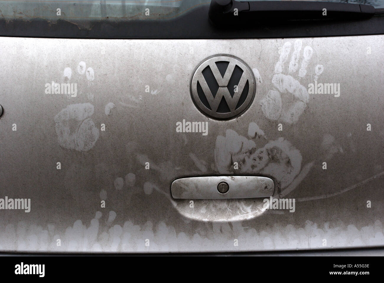Childu0027s hand prints on tailgate of dirty car & Childu0027s hand prints on tailgate of dirty car Stock Photo: 3656765 ...