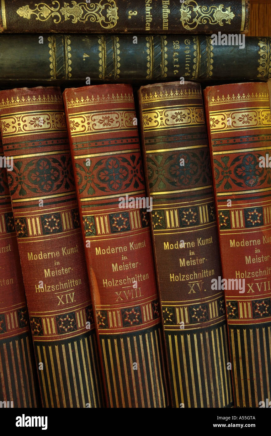 Old art volumes modern art in master woodcuts of the beginning of the 20th century - Stock Image