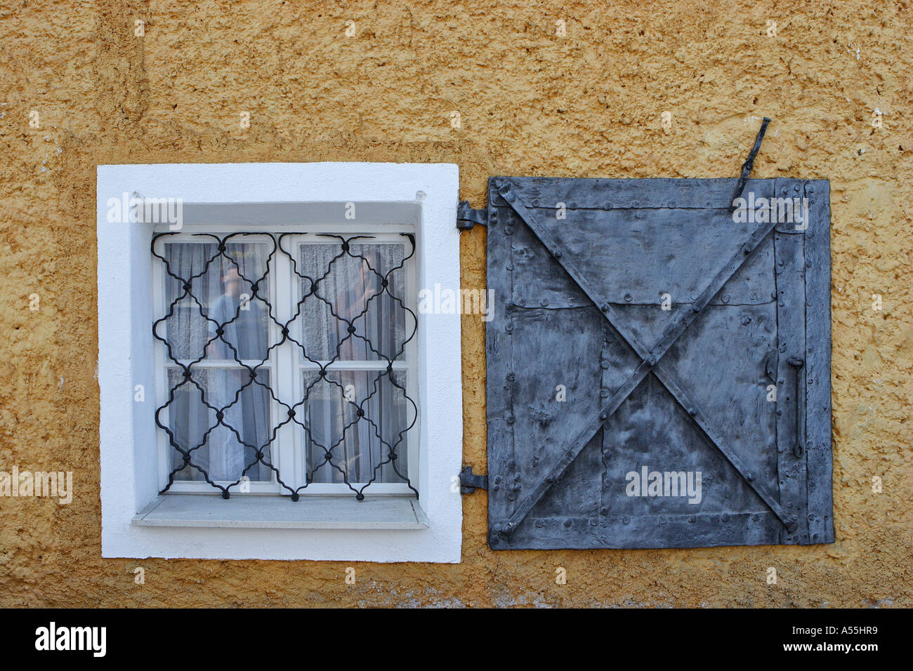 Window dated of Middle Ages Pürgg Styria Austria - Stock Image