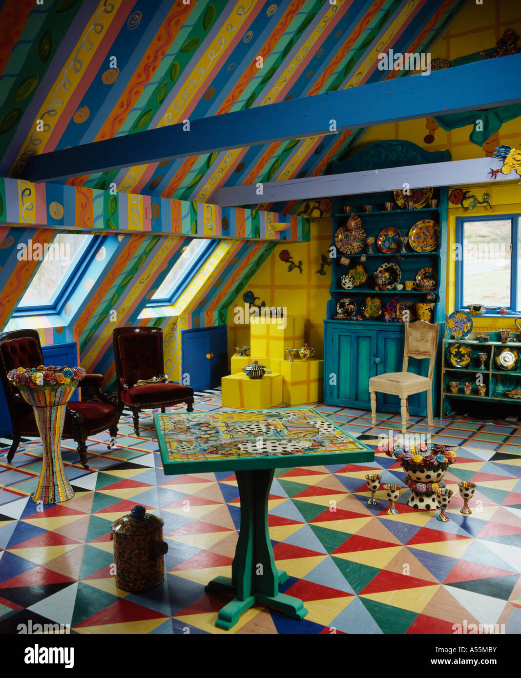 Colourful Living Room With Striped Ceiling And Multicoloured Painted  Chequerboard Floor In Loft Conversion