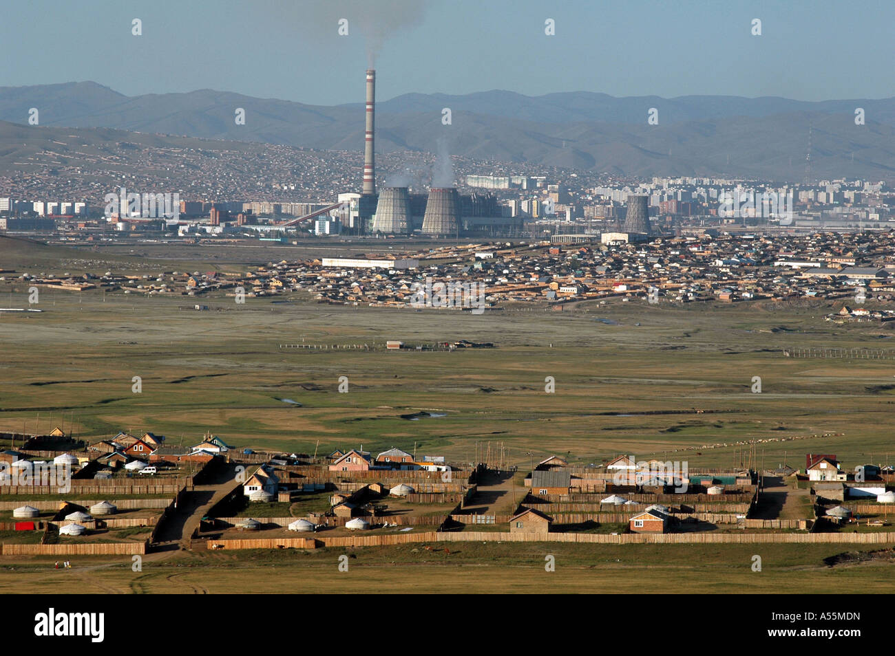 Painet is1493 mongolia landscape power station ulaan baatar country developing nation less economically developed - Stock Image