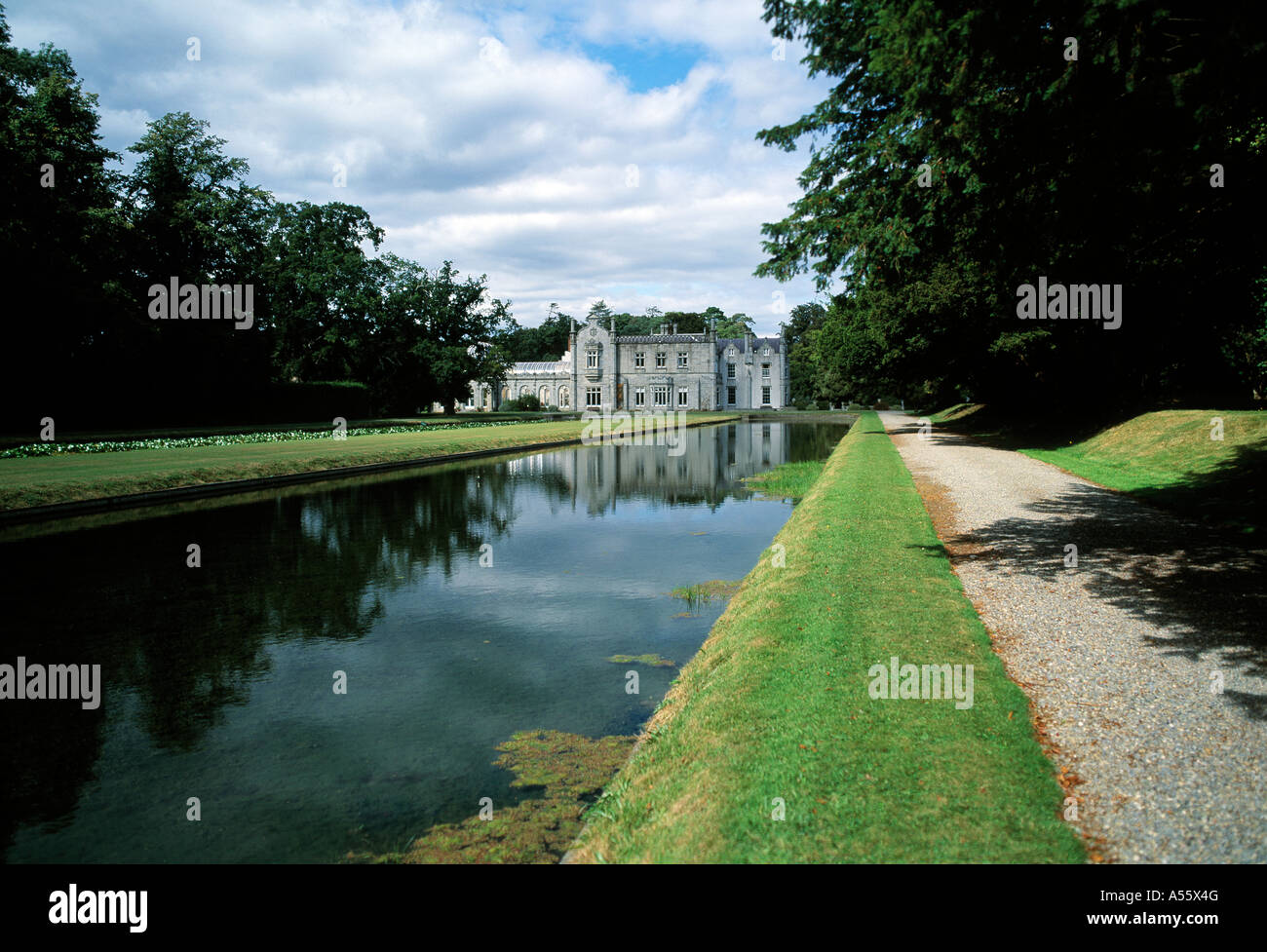 ireland, county wicklow, kilruddery, irish stately home house gardens, large water canal, water display - Stock Image