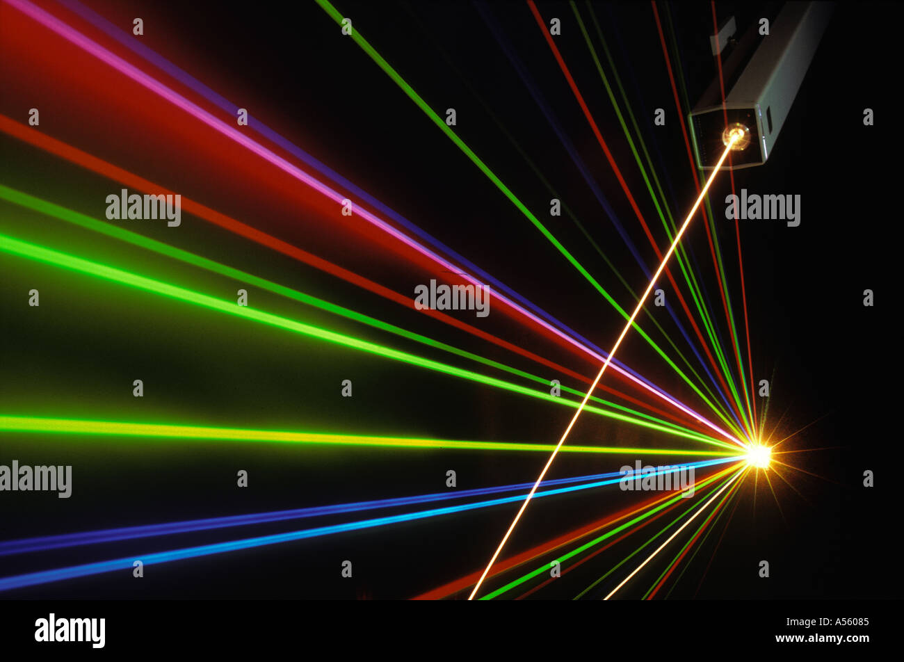 laser light beams at lab in Silicon Valley California - Stock Image