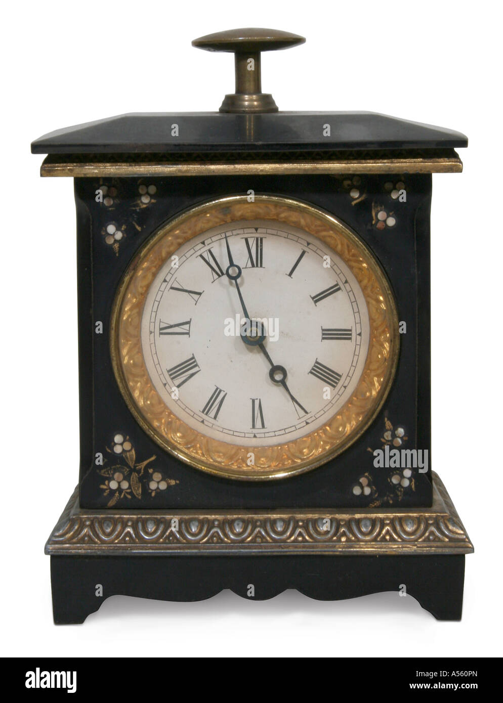 Front view of antique clock - Stock Image