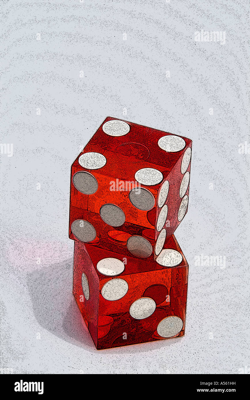 two red casino dice on light background - Stock Image