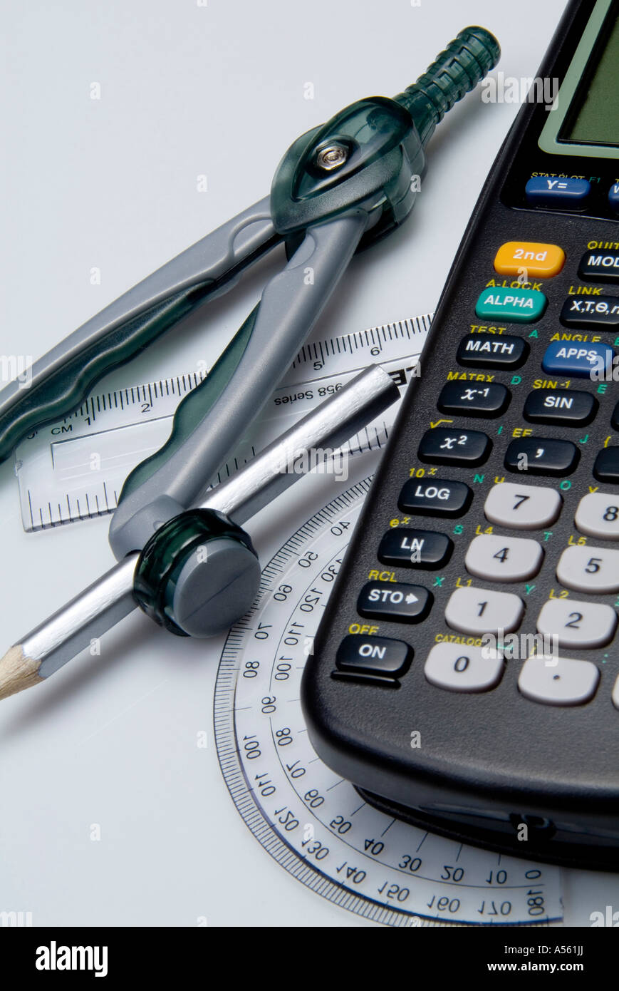 mathematical tools including calculator protractor compass ruler and