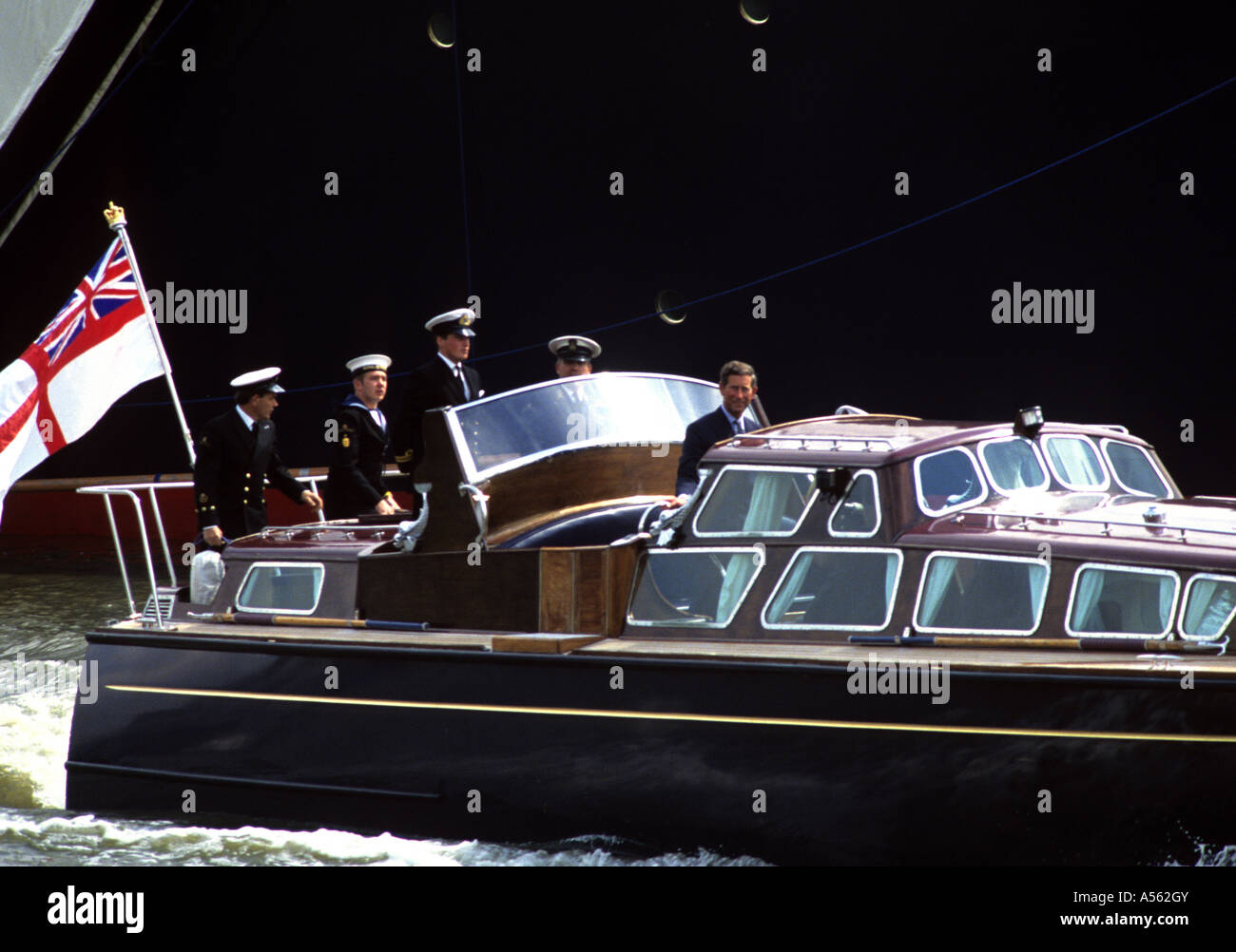 Charles-Prince of Wales leaves Royal Yacht aboard a Royal Barge - Stock Image