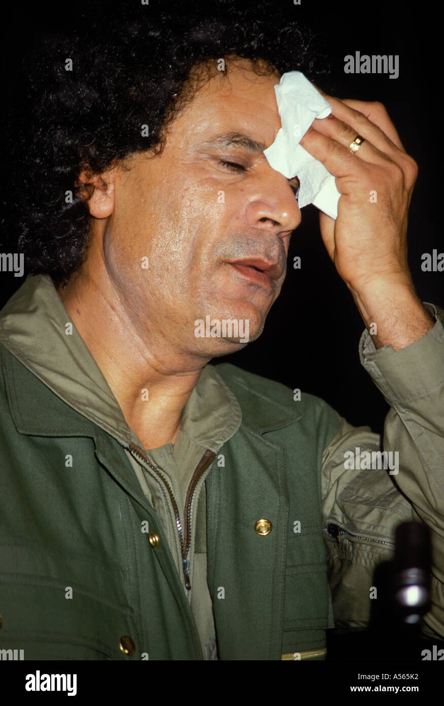 Stressed Colonel Muammar al Gaddafi Libya - Stock Image
