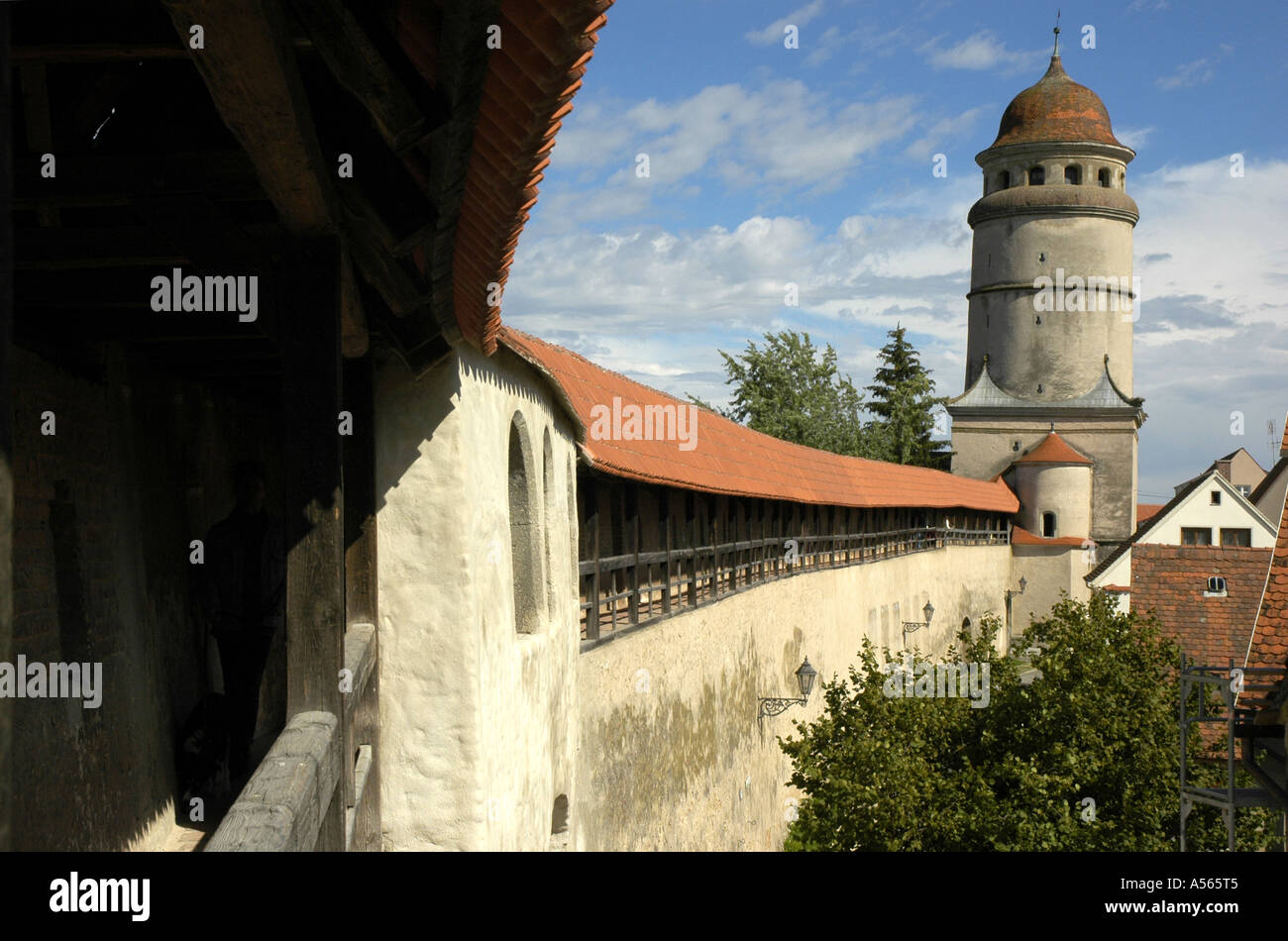 Noerdlingen, only city of Germany with a nearly completely received accessible city wall, Bavaria , Germany - Stock Image