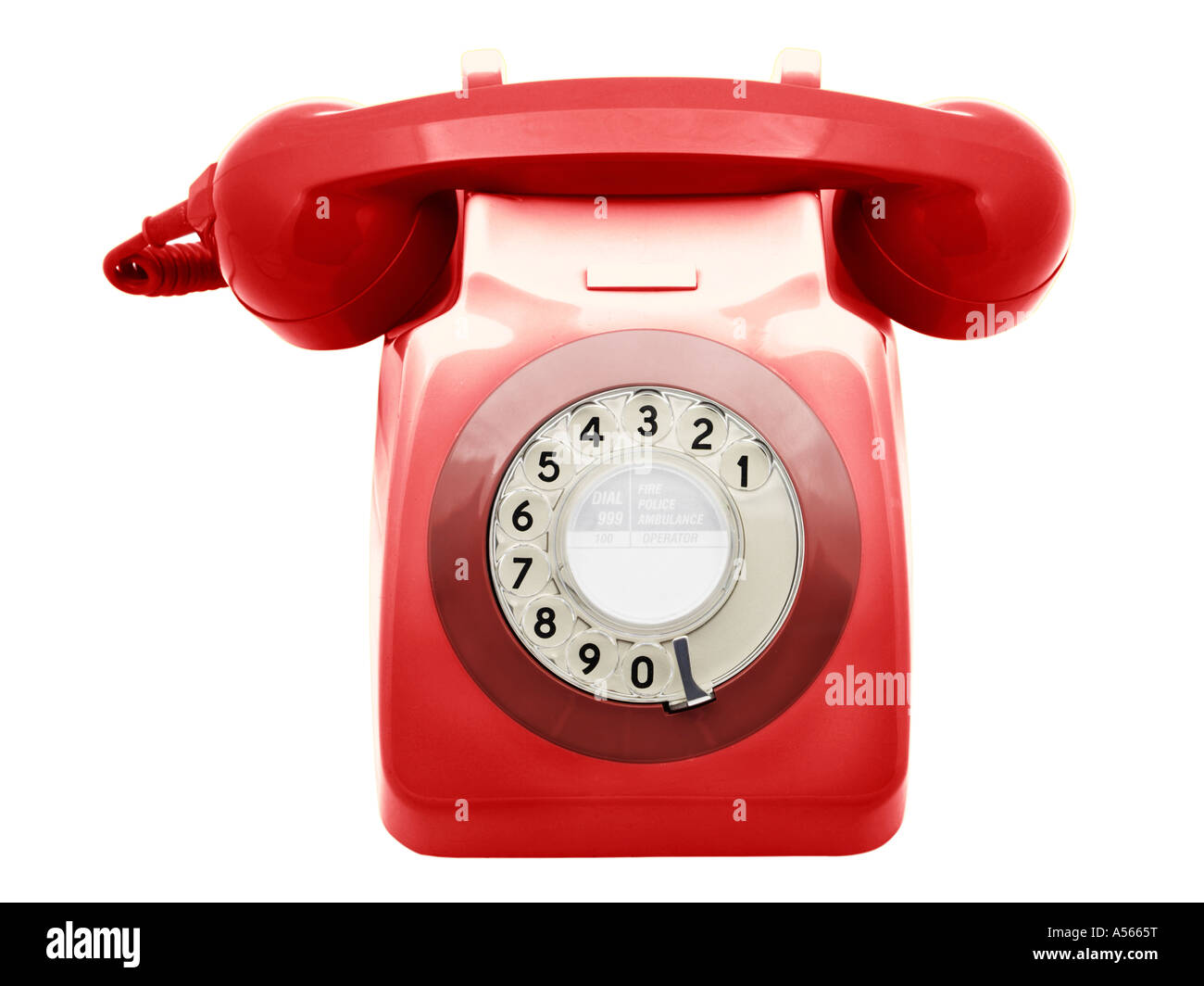 Retro Seventies Telephone Red - Stock Image