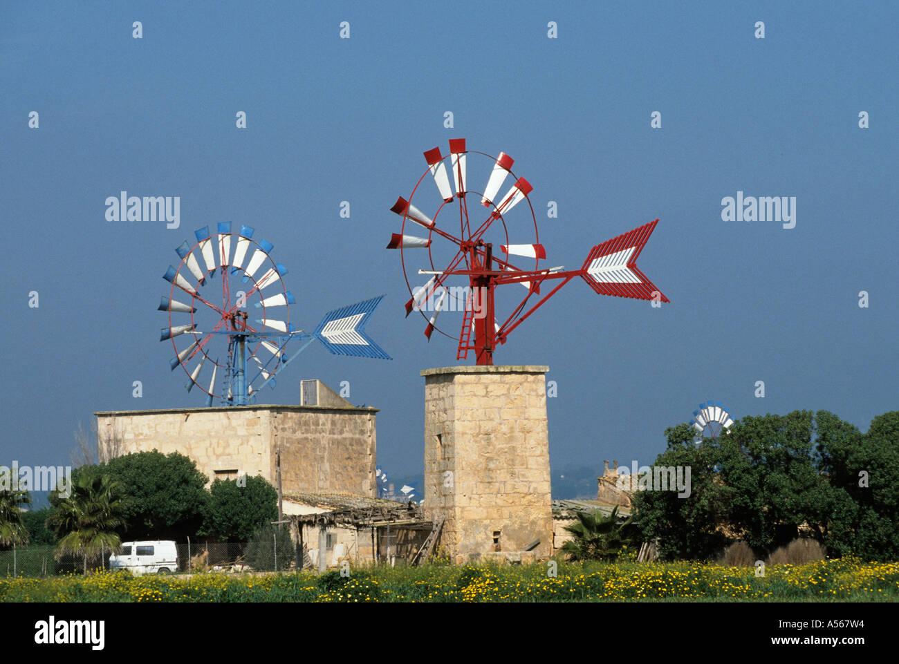 Mallorca Sant Jordi windmills - Stock Image