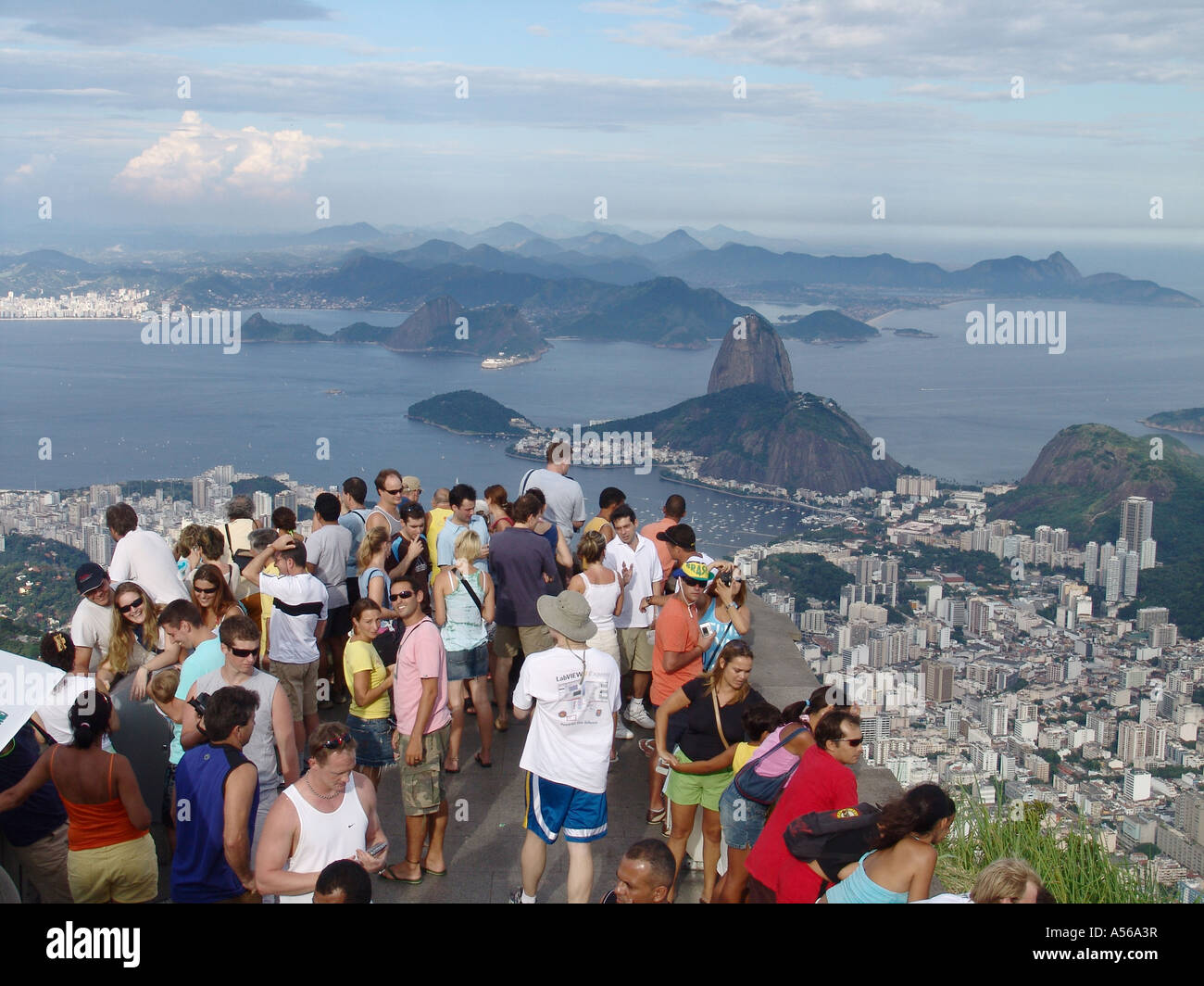 Painet iy8155 brazil tourists enjoying panorama rio janeiro corcovado peak site statue christ redeemer 2005 country Stock Photo