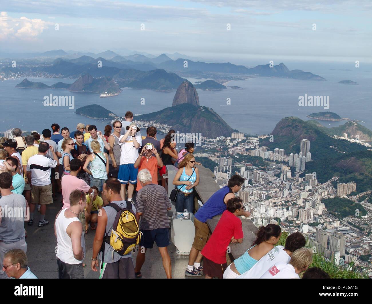 Painet iy8157 brazil tourists enjoying panorama rio janeiro corcovado peak site statue christ redeemer 2005 country Stock Photo
