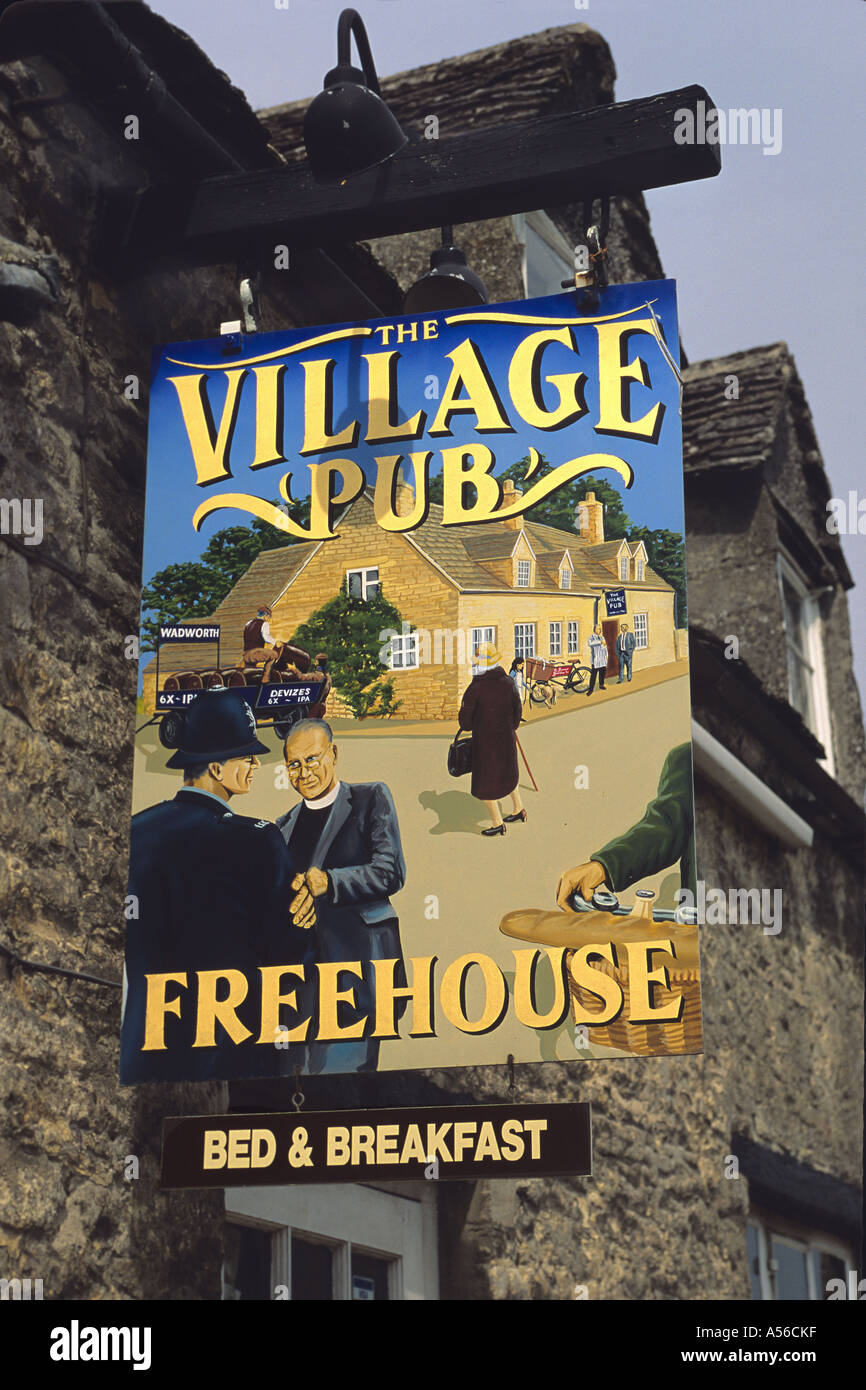 The Village Pub in the Cotswolds UK - Stock Image
