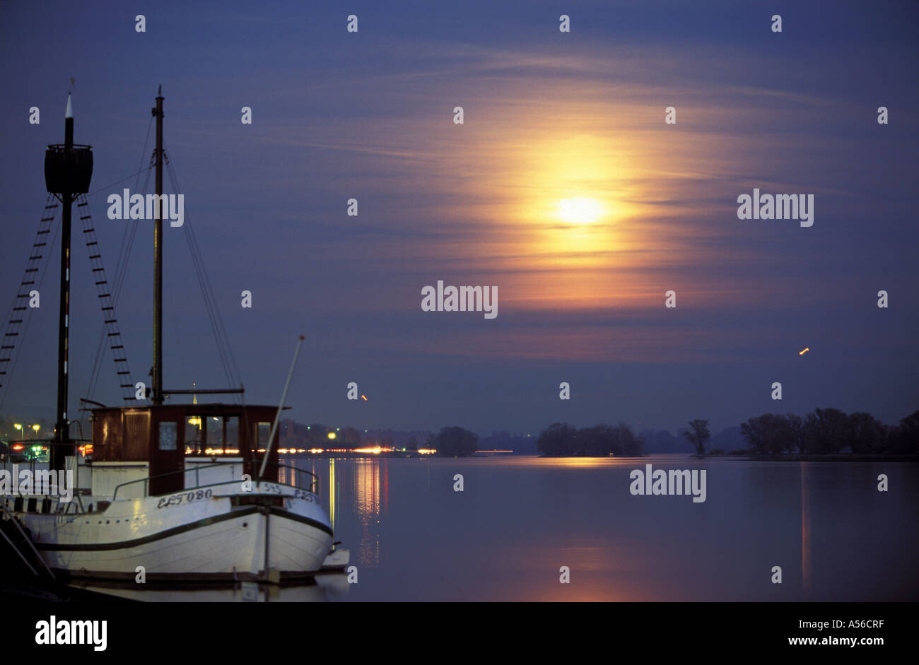 Rheingau /Geisenheim, Rhine River, Full moon on the river - Stock Image