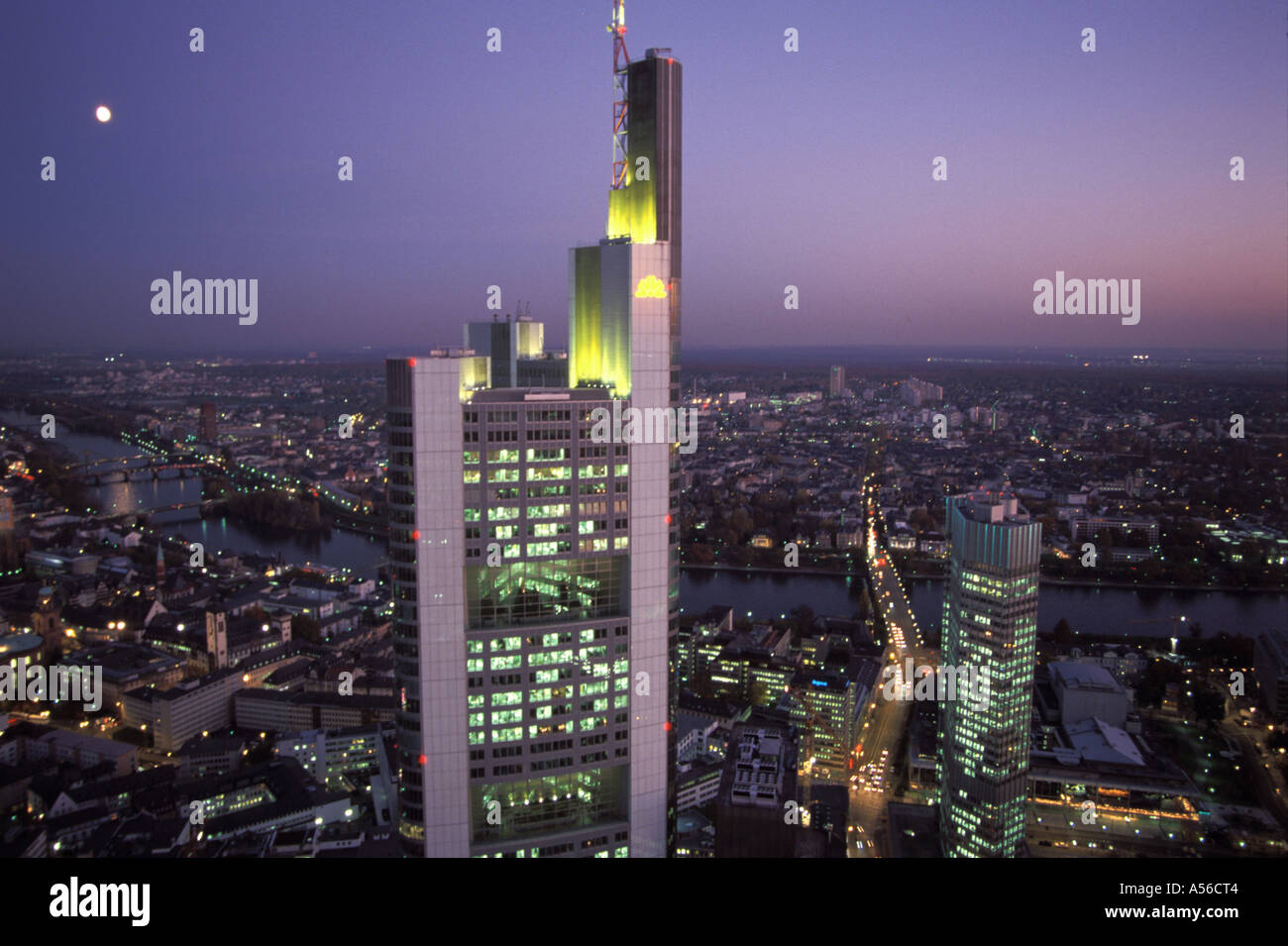 Frankfurt/M, Germany, main building of the COMMERZBANK (center) and on the right side bottom the EZB ( Europaeische Zentralbank/ - Stock Image