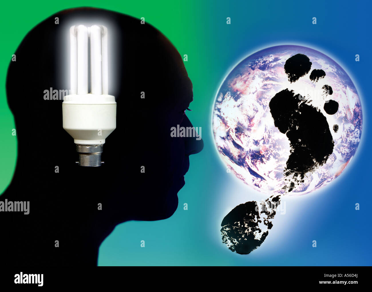 man thinking of carbon footprint and Earth pollution - Stock Image