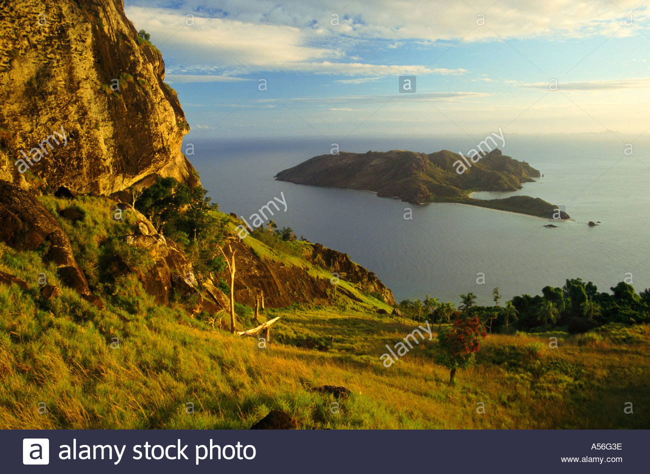 Elevated view to Kuata island from Waya island, Fiji, South Pacific - Stock Image