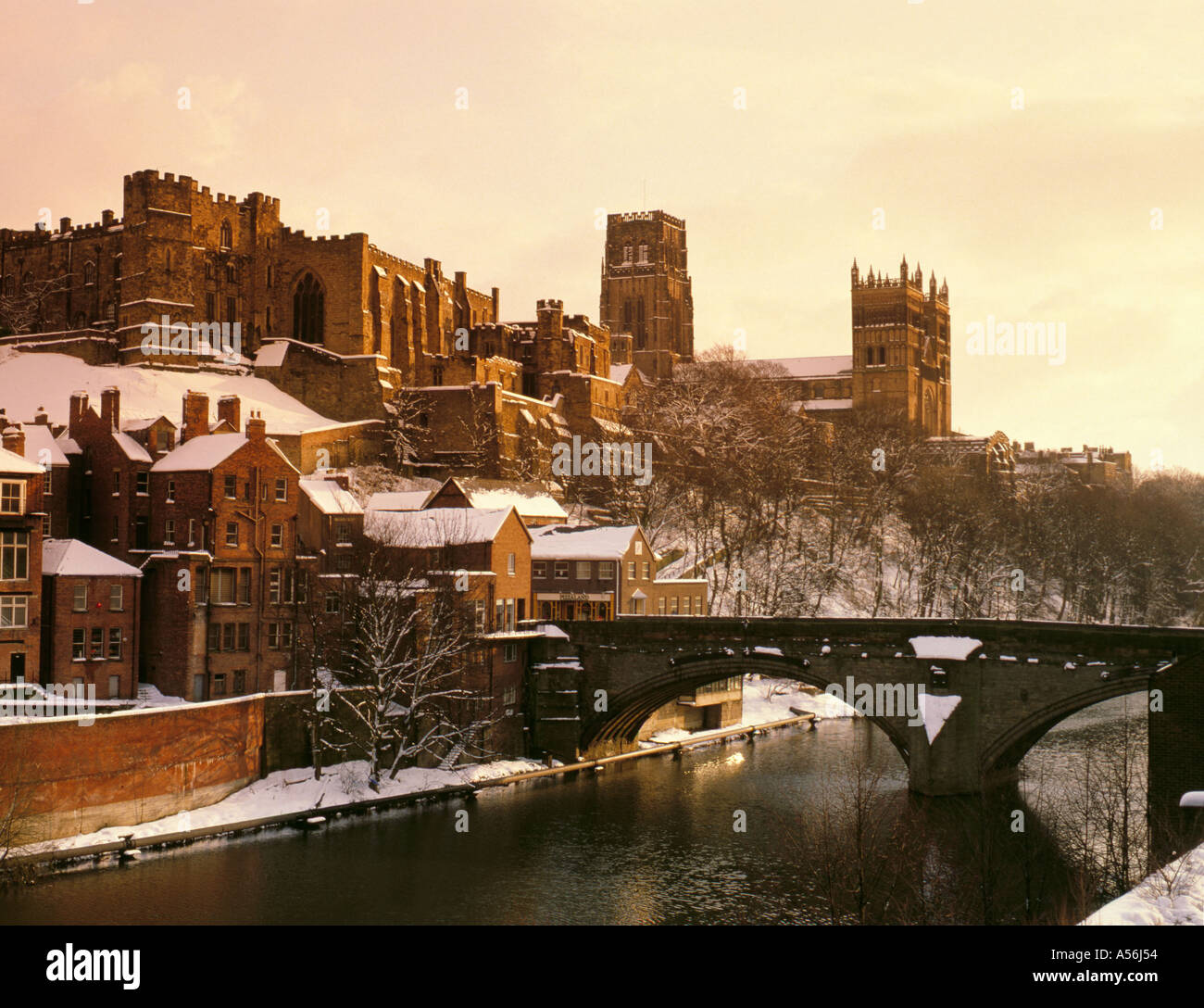 Cathedral And Castle Seen Over River Wear In Winter Durham City