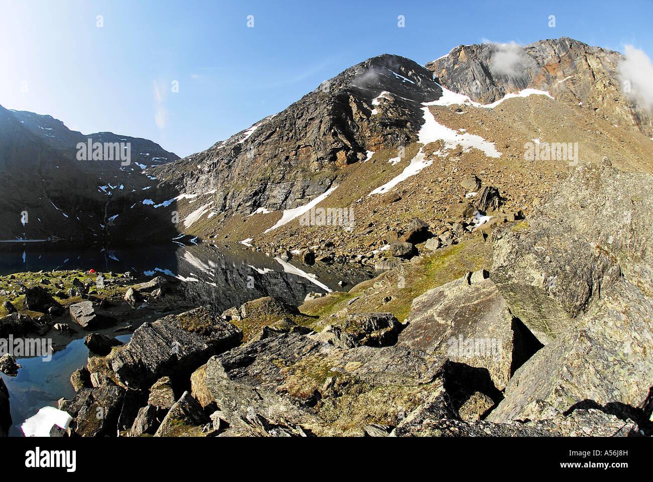 See Trollsjoen im Tal Gearggevaeggi Abisko Fjaell Norrbotten Schwedisch Lappland Schweden 2006 Sommer Nordschweden Stock Photo