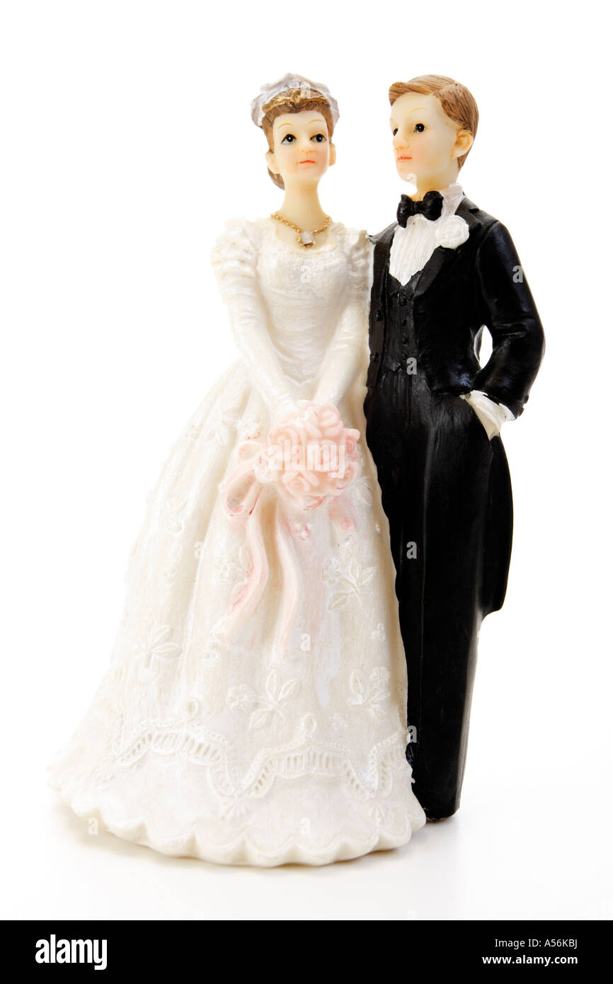 Wedding Couple Figurines Standing Close Up Stock Photo Alamy