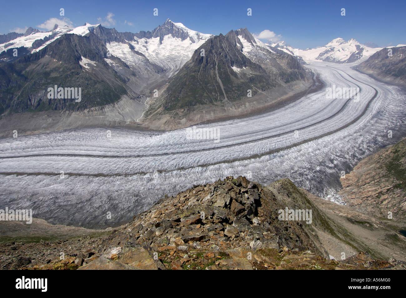 Glacier Aletsch Wallis Switzerland - Stock Image
