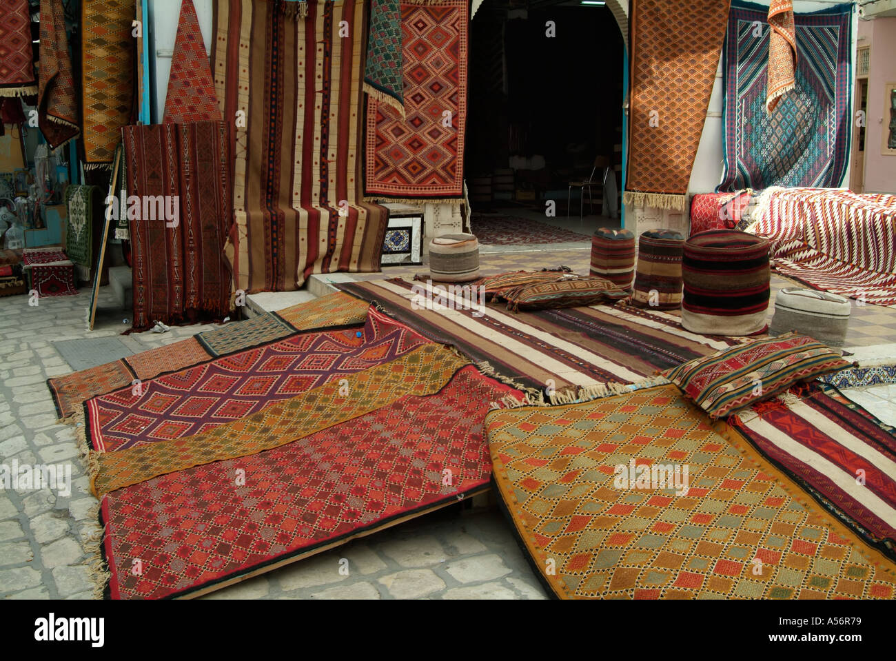 carpets for sale kairouan tunisia stock image - Carpets For Sale